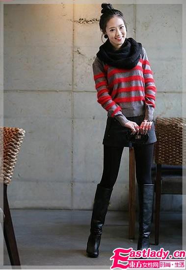 秋冬毛衣配长靴穿出高挑气质