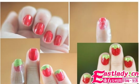 在家画美甲 草莓美甲
