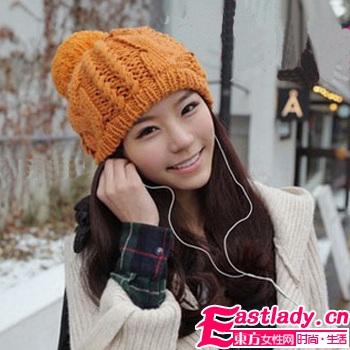 橙色毛线帽X长版梨花头