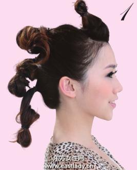 用发束打造时尚卷发造型