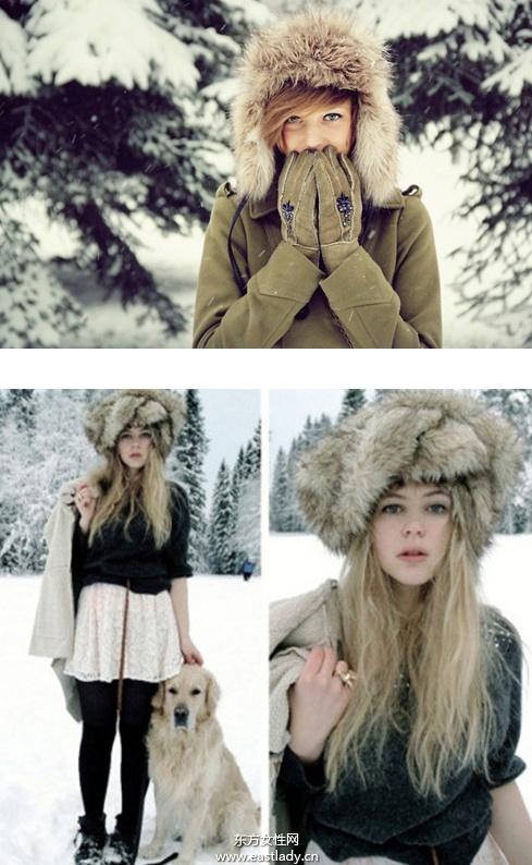 时尚皮草帽给冬日带来一丝暖意