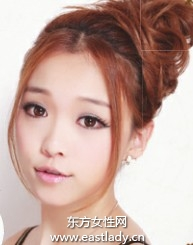 适合圆脸MM的中分刘海盘发发型设计
