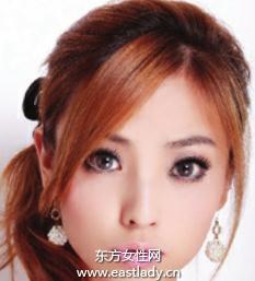适合圆脸MM的外翻式束发发型