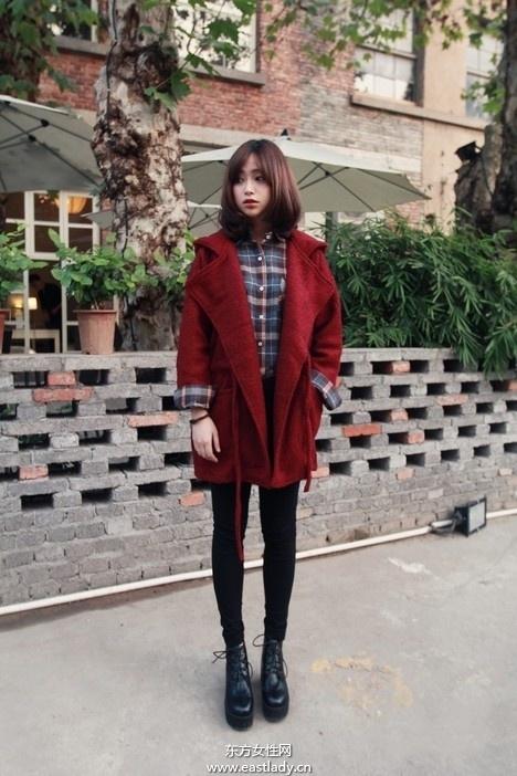 矮个子MM简单搭配也可穿上呢子大衣