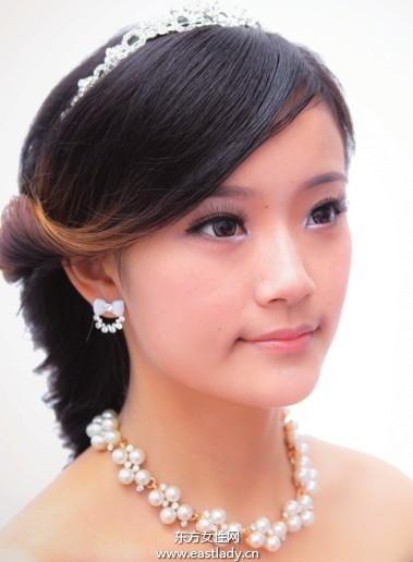 刘海后梳塑造韩式发型
