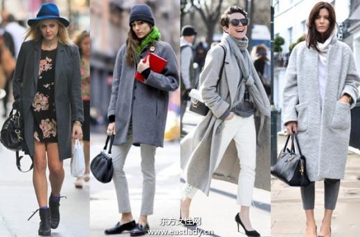 灰色调外套大衣展现中性干练之美