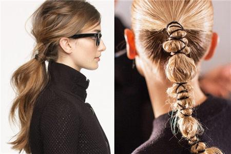 马尾+围巾今冬发型就这样设计