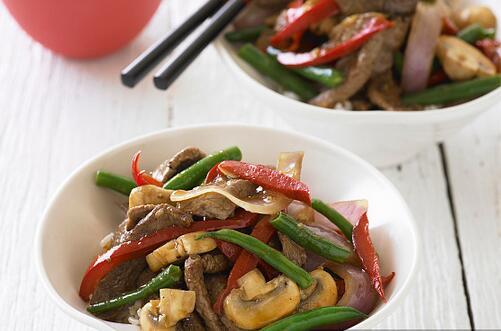 蘑菇炒肉      鲜甜可口的下饭菜
