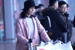 女星机场时尚街拍 刘诗诗粉红大衣亮相