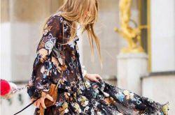 欧美时尚街拍 早春长裙搭配美美哒