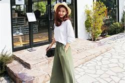 女生夏季宽腿裤服装搭配 学会了时髦又起范儿