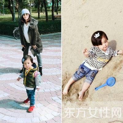 贾静雯带女儿游玩