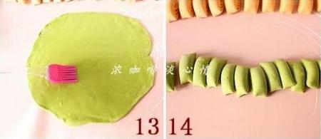 双色菜汁花卷的做法步骤13-14