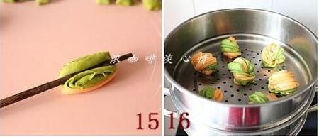 双色菜汁花卷的做法步骤15-16