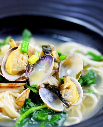 花蛤蜊汤面的做法