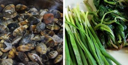 花蛤蜊汤面的做法步骤1-2